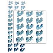 36 PC BABY FEET RHINESTONE STICKERS-LIGHT BLUE(24 PACKS) PF-4792