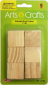 6 PC 3 CM WOOD CUBES - NATURAL (24 PACKS) PF-4728
