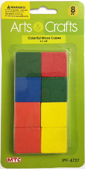 8 PC 2.5 CM WOOD CUBES - ASSORTED (24 PACKS) PF-4727