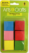 6 PC 3CM WOOD CUBES - ASSORTED (24 PACKS) PF-4729