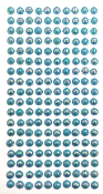 180 PC MEDIUM PEARL STICKERS-BLUE (24 PACKS) PF-4846