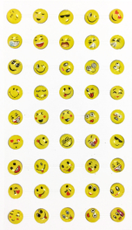 45 PC FUNNY FACE RHINESTONE STICKERS (24 PACKS) PF-4849