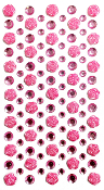 113 PCS ROSE RHINESTONE STICKERS-PINK (24 PACKS) PF-4847