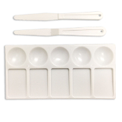 PLASTIC RECTANGLE PALETTE W/ 2 KNIVES (24 PACKS) PF-4701