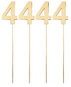 "4PC 4"" WOOD LETTER WITH STICK - #4 (24 PACKS) PF-5133"