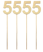"4PC 4"" WOOD LETTER WITH STICK - #5 (24 PACKS) PF-5134"