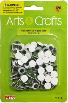 120 PC 1.0CM SELF ADHESIVE WIGGLE EYES (24 PACKS) PF-5139