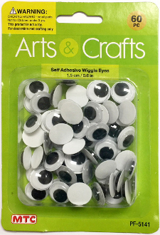 60PC 1.5CM SELF ADHESIVE WIGGLE EYES (24 PACKS) PF-5141