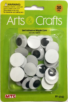30PC 2.0CM SELF ADHESIVE WIGGLE EYES (24 PACKS) PF-5142
