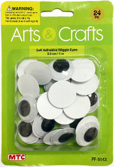 24PC 2.5CM SELF ADHESIVE WIGGLE EYES (24 PACKS) PF-5143