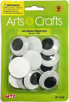 14PC 3.0CM SELF ADHESIVE WIGGLE EYES (24 PACKS) PF-5144
