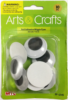 10PC 3.5CM SELF ADHESIVE WIGGLE EYES (24 PACKS) PF-5145