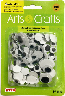 100PC ASST. SIZES SELF ADHESIVE WIGGLE EYES (24 PACKS) PF-5146