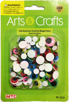 100PC ASST.SIZES SELF ADHESIVE COLORFUL EYES (24 PACKS) PF-5151