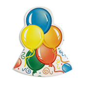 8 DIE-CUT PARTY HATS-BALLOONS (24 PACKS) PF-7577