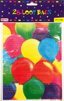 25 LOOT BAGS - BRIGHT BALLOONS (24 PACKS) PF-7744