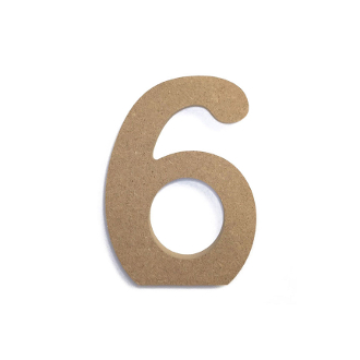 "4.5"" NATURAL WOOD NUMBER - 6 (24 PACKS) PF-4868"